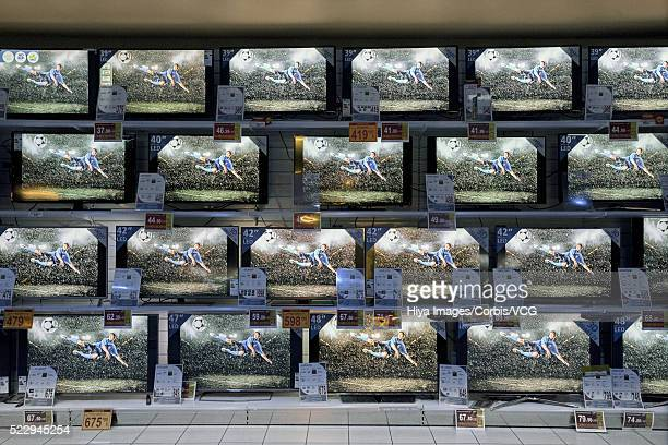 Flat panel televisions in store
