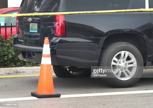 A flat rear tire is seen on the black Suburban SUV that reports say is the vehicle rapper NBA Youngboy was riding in when a shooting took place on...