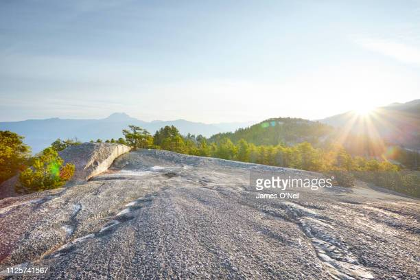 flat rocky plateau with forests and distant mountains basked in sunlight - planalto - fotografias e filmes do acervo