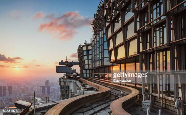 flat roof of the jinmao tower - tall high stock photos and pictures