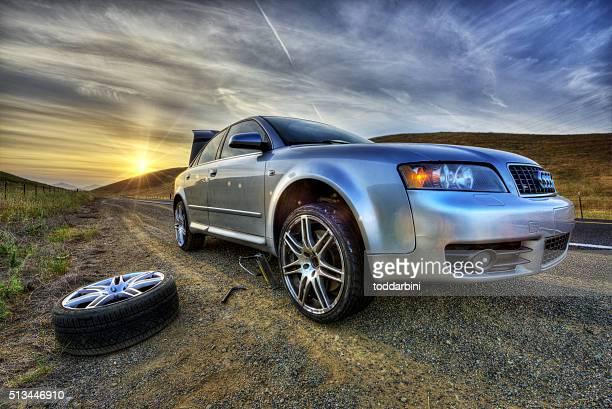 hdri - flat tire at sunset in the country - flat tire stock pictures, royalty-free photos & images