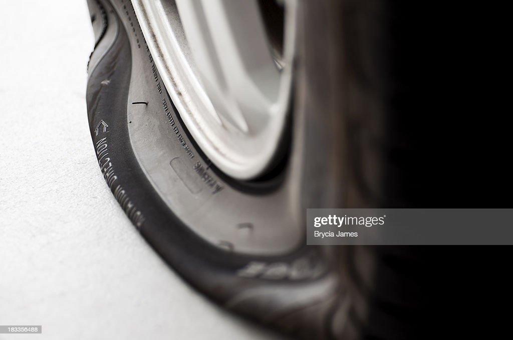 Flat Tire Close-up : Stock Photo
