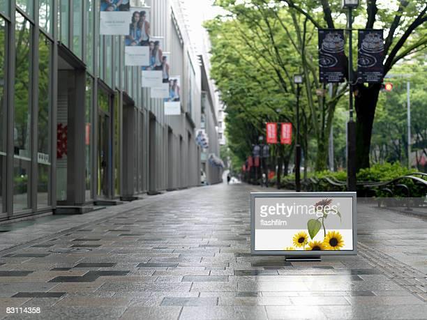 フラットスクリーンテレビに置かれた表参道 street