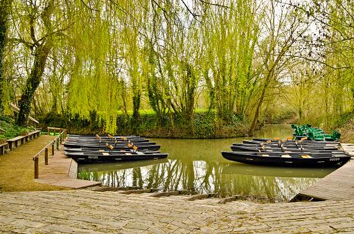 Flatboat jetty in the green Venice of Marais Poitevin 471305094