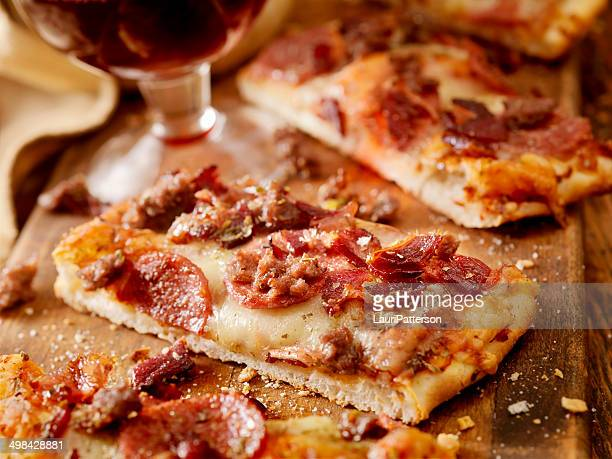 flatbread pizza - pepperoni pizza stock photos and pictures