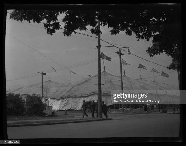 Barnum & Bailey circus tents, pitched at Clarkson Avenue and Brooklyn Avenue, New York, New York, late 19th or early 20th century.