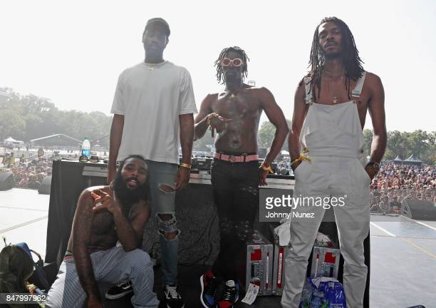 Flatbush Zombies pose onstage during the Meadows Music and Arts Festival Day 2 at Citi Field on September 16 2017 in New York City
