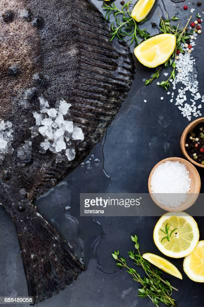 Flatfish preparation with cooking  ingredients