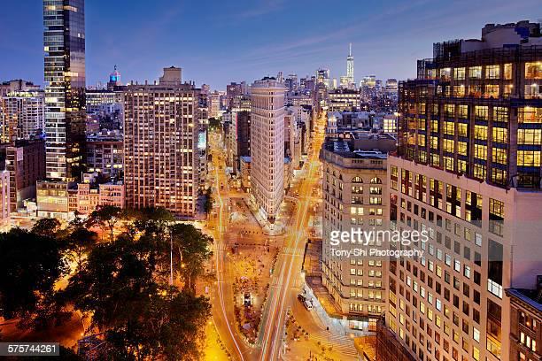 Flatiron building and New York City night view