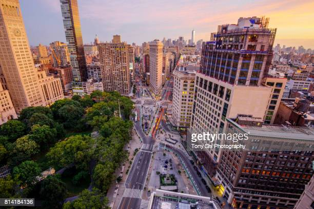 flatiron building - midtown - new york city - chelsea new york stock photos and pictures