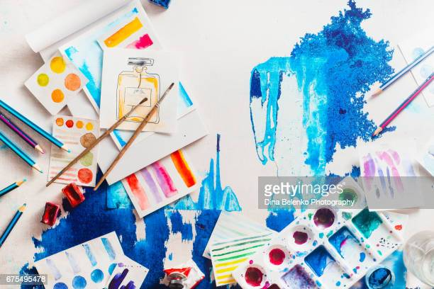 flatlay artist workplace with watercolor and brushes - art and craft equipment stock pictures, royalty-free photos & images