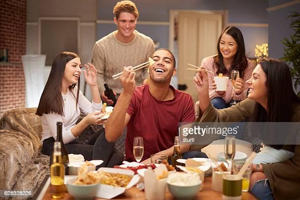flatmates enjoying take away