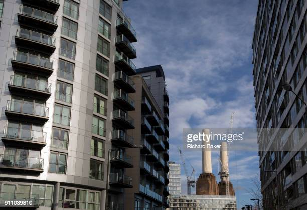 Flats and apartments at the large Chelsea Bridge Wharf development on Queenstown Road near Battersea Power Station on 22 January 2018 in south London...