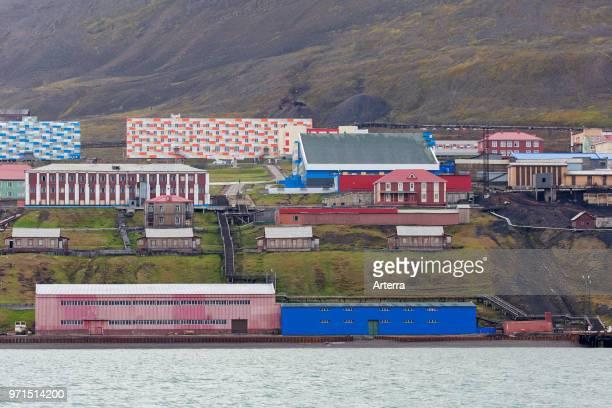 Flats / apartments at Barentsburg Russian coal mining settlement at Isfjorden Spitsbergen / Svalbard Norway