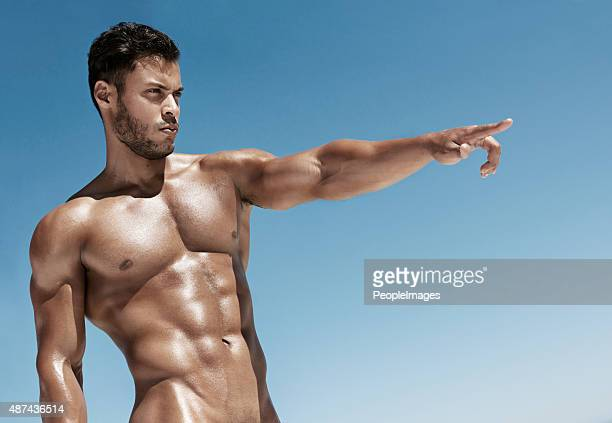 flaunting his fine physique - naturism stock photos and pictures