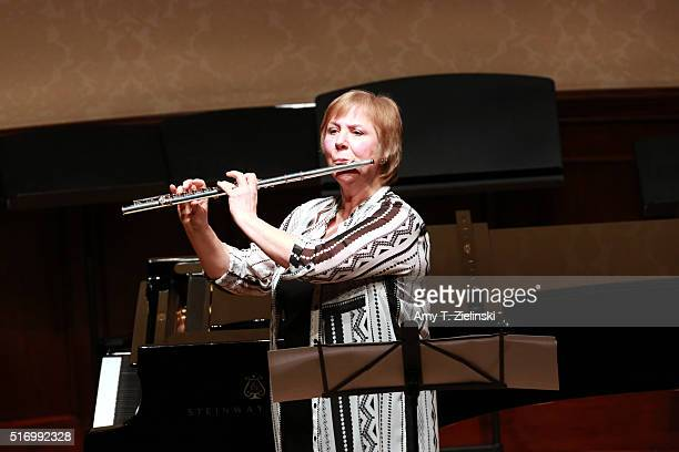 Flautist Philippa Davies of Nash Ensemble performs on stage a Berio Sequenzas at Wigmore Hall on March 22 2016 in London England
