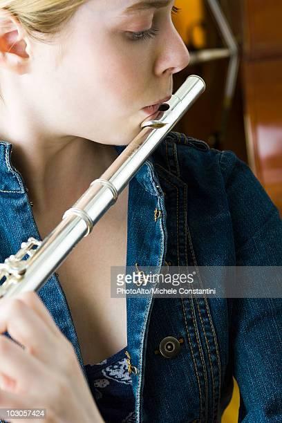 Flautist practicing