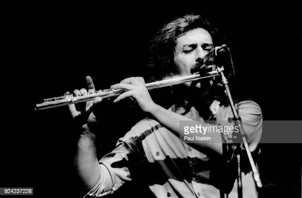 Flautist Ray Thomas of the Moody Blues performs at the Poplar Creek Music Theater in Hoffman Estates Illinois July 18 1981