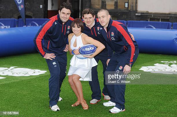 Flavia Cacace Mike Brown Brad Barritt and Alex Goode attend a photocall to launch the National Touch Rugby Campaign at Ely's Yard on February 12 2013...