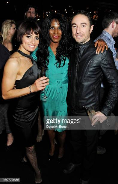 Flavia Cacace Sinitta and Vincent Simone attend an after party following the press night performance of 'Midnight Tango' at Gaucho on February 5 2013...