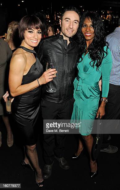 Flavia Cacace Vincent Simone and Sinitta attend an after party following the press night performance of 'Midnight Tango' at Gaucho on February 5 2013...