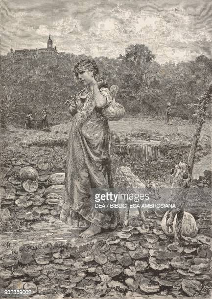 Flavia farmer with a pumpkin and a dog engraving from a painting by Francesco Paolo Michetti from L'Illustrazione Italiana No 2 January 9 1881