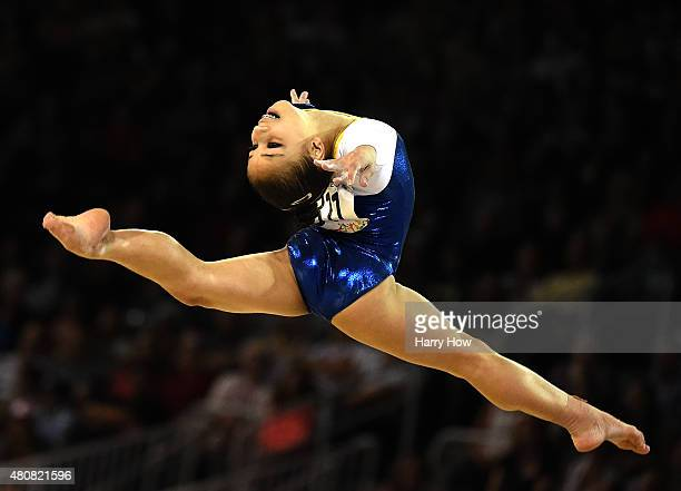 Flavia Lopes Saraiva of Brazil competes in the artistic gymnastic women's floor final during the 2015 Pan Am Games at the Toronto Coliseum on July...