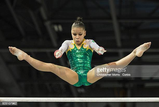 Flavia Lopes Saraiva of Brazil on the uneven bars during the women's all around artistic gymnastics competition at the 2015 PanAm Games in Toronto