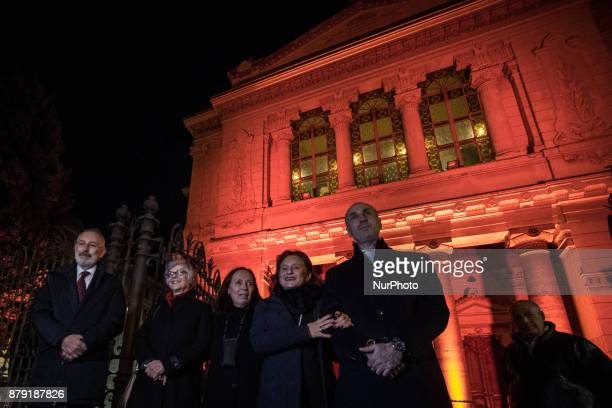 Flavia Marzano Ruth Dureghello Guerrini Gemma Riccardo Shemuel Di Segni during The Great Synagogue of Rome is illuminated for the first time in...