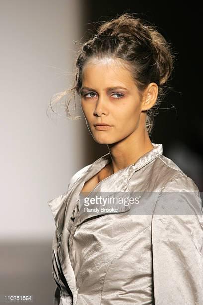 Flavia Oliveira wearing Gary Graham Spring 2006 during Olympus Fashion Week Spring 2006 Gary Graham Runway at Bryant Park in New York City New York...