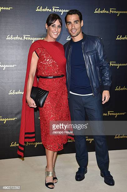 Flavia Pennetta and Fabio Fognini attend the Salvatore Ferragamo show during the Milan Fashion Week Spring/Summer 2016 on September 27, 2015 in...