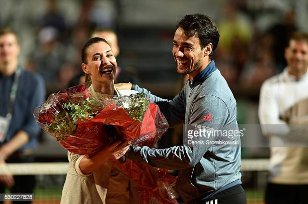 Flavia Pennetta and Fabio Fognini of Italy react as Flavia Pennetta waves bye after retiring from tennis on Day Three of The Internazionali BNL...