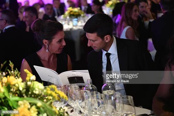 Flavia Pennetta and Novak Djokovic attend the Milano Gala Dinner benefitting the Novak Djokovic Foundation presented by Giorgio Armani at Castello...