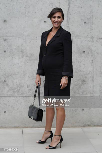 Flavia Pennetta attends the Emporio Armani fashion show during the Milan Fashion Week Spring/Summer 2020 on September 19, 2019 in Milan, Italy.
