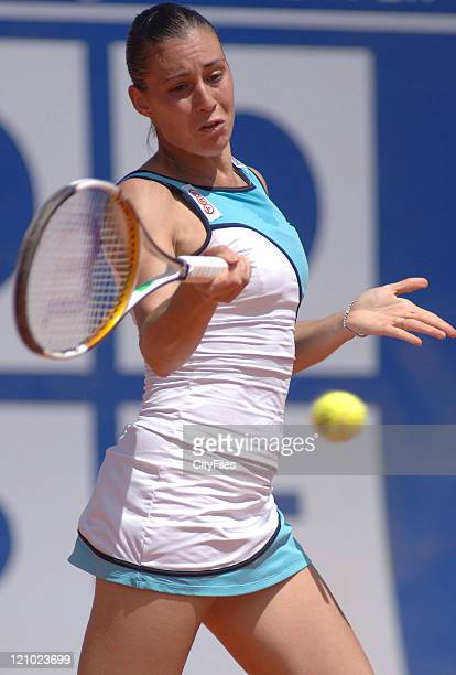 Flavia Pennetta in action against Eleni Danilidou during their quarterfinal match in the 2006 Estoril Open at the Estadio Nacional in Estoril...