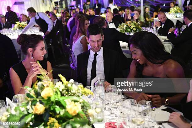 Flavia Pennetta, Novak Djokovic and Serena Williams attend the Milano Gala Dinner benefitting the Novak Djokovic Foundation presented by Giorgio...
