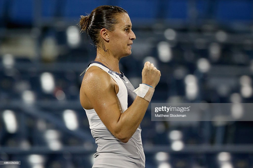Flavia Pennetta of Italy celebrates after defeating Monica Niculescu of Romania in their Women's Singles Second Round match on Day Four of the 2015 US Open at the USTA Billie Jean King National Tennis Center on September 3, 2015 in the Flushing neighborhood of the Queens borough of New York City.