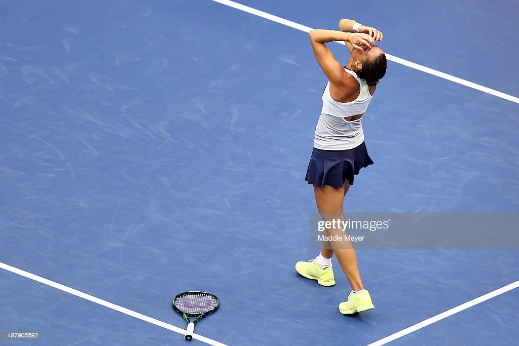 Flavia Pennetta of Italy celebrates after defeating Roberta Vinci of Italy during their Women's Singles Final match on Day Thirteen of the 2015 US Open at the USTA Billie Jean King National Tennis Center on September 12, 2015 in the Flushing neighborhood of the Queens borough of New York City. Pennetta defeated Vinci 7-6, 6-2.