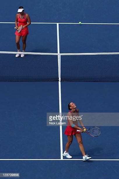 Flavia Pennetta of Italy celebrates after defeating Shuai Peng of China during Day Seven of the 2011 US Open at the USTA Billie Jean King National...
