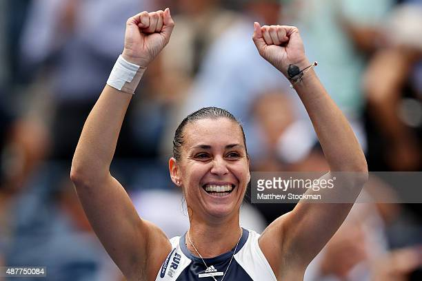 Flavia Pennetta of Italy celebrates after defeating Simona Halep of Romania in their Women's Singles Semifinals match on Day Twelve of the 2015 US...