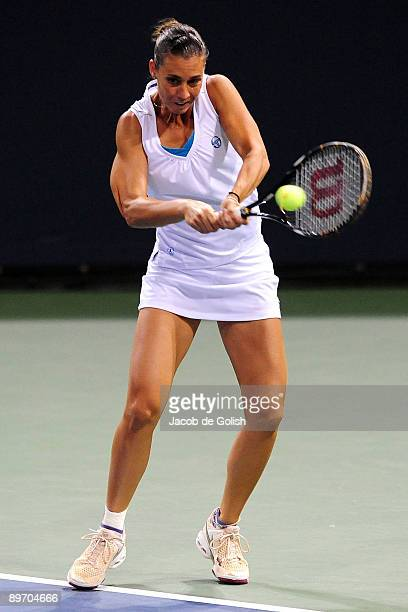 Flavia Pennetta of Italy hits a backhand to Vera Zvonareva of Russia in the LA Women's Tennis Championships on August 7 2009 at the Home Depot Center...