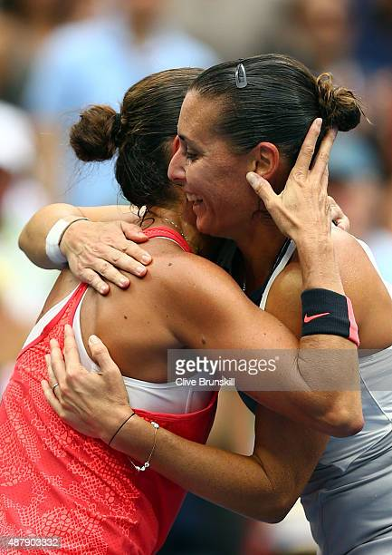 Flavia Pennetta of Italy hugs Roberta Vinci of Italy during their Women's Singles Final match on Day Thirteen of the 2015 US Open at the USTA Billie...