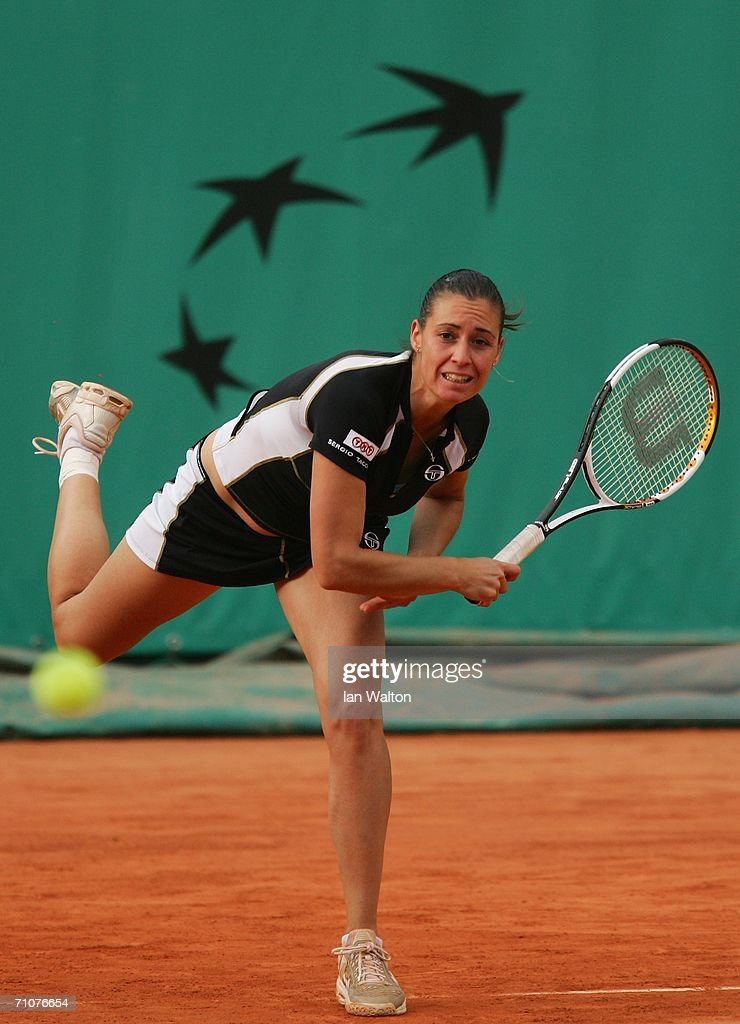 Flavia Pennetta of Italy in action against Bethanie Mattek of the United States during day two of the French Open at Roland Garros on May 29, 2006 in Paris, France.