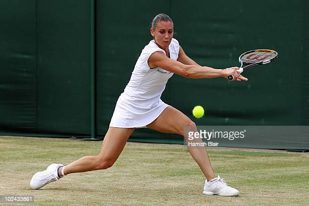Flavia Pennetta of Italy in action during her match against Klara Zakopalova of Czech Republic on Day Six of the Wimbledon Lawn Tennis Championships...
