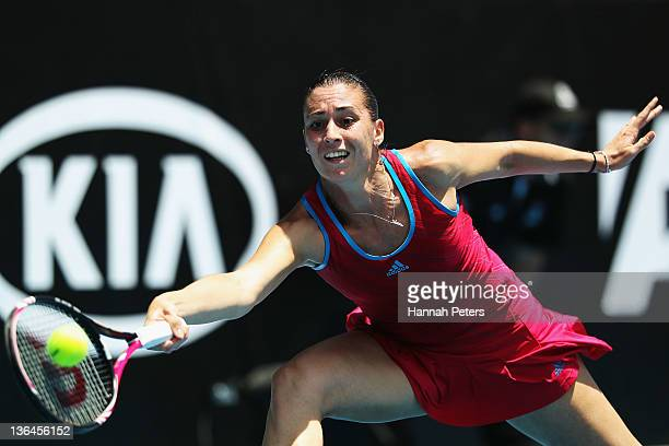 Flavia Pennetta of Italy plays a forehand against Angelique Kerber of Germany during day five of the 2012 ASB Classic ASB Tennis Centre on January 6...