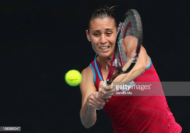 Flavia Pennetta of Italy plays a shot in her match against Elena Baltacha of Great Britian during day three of the 2012 ASB Classic at ASB Tennis...