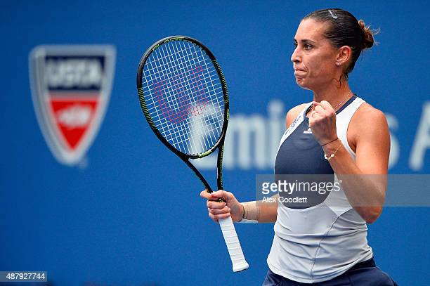 Flavia Pennetta of Italy reacts against Roberta Vinci of Italy during their Women's Singles Final match on Day Thirteen of the 2015 US Open at the...