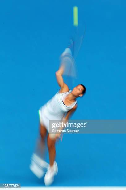 Flavia Pennetta of Italy serves in her fourth round match against Petra Kvitova of the Czech Republic during day eight of the 2011 Australian Open at...
