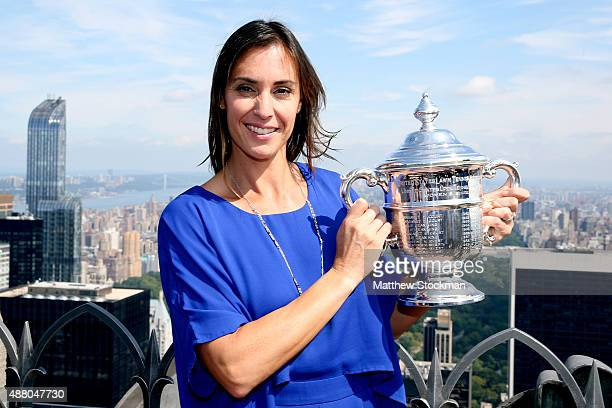 Flavia Pennetta of Italy, the 2015 US Open Women's Singles champion, poses with the winner's trophy at the Top of the Rock Observation Deck at...