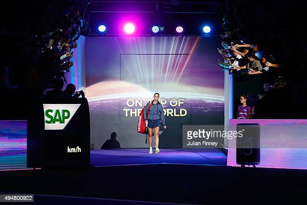 Flavia Pennetta of Italy walks out onto the court prior to her round robin match against Maria Sharapova of Russia during the BNP Paribas WTA Finals...